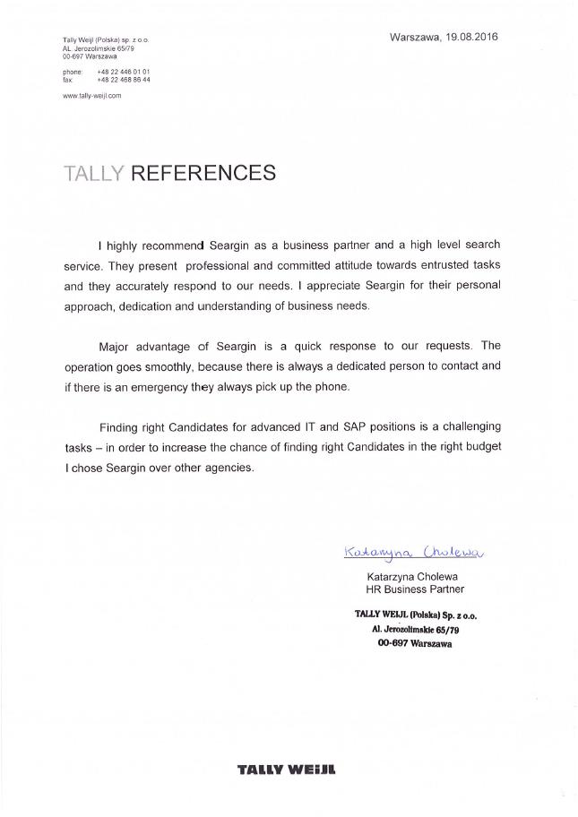 Tally Weijl referencja